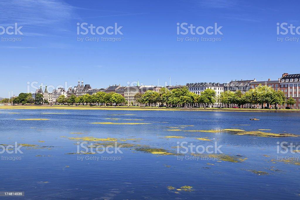 Copenhagen skyline from The Lakes royalty-free stock photo
