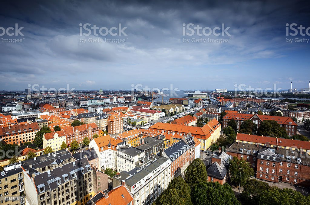 Copenhagen skyline on a cloudy day stock photo