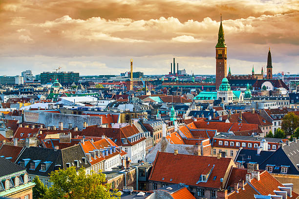 copenhagen skyline - denmark stock photos and pictures