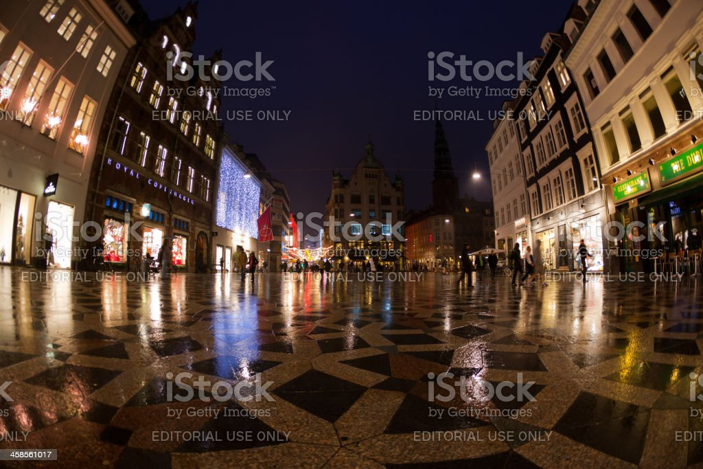 Copenhagen Stroget by Night royalty-free stock photo