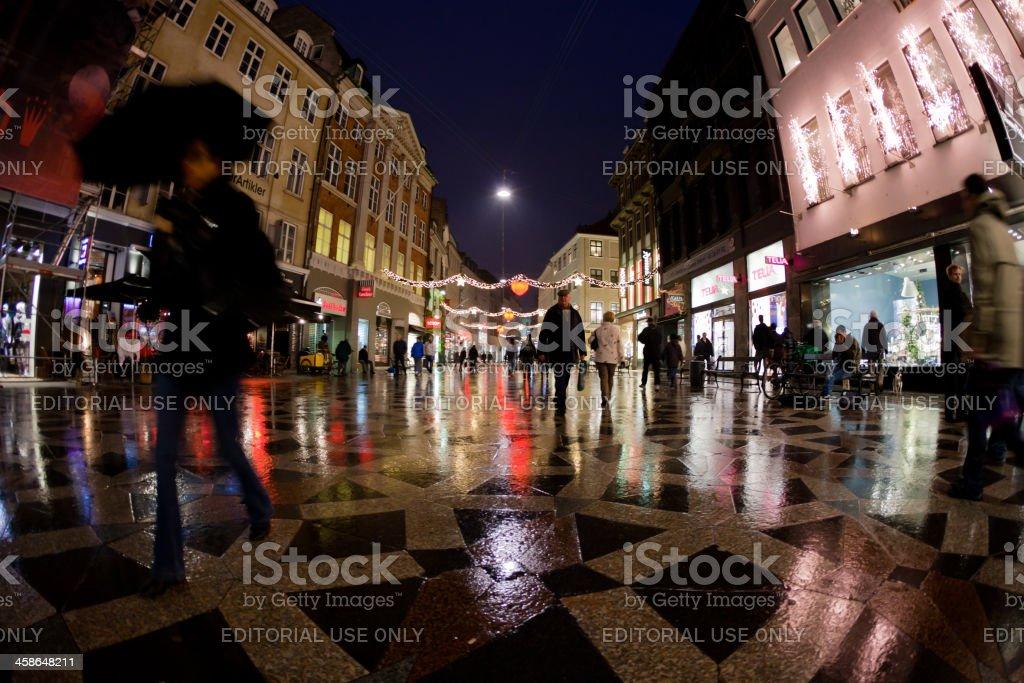 Copenhagen Stroget by Night stock photo