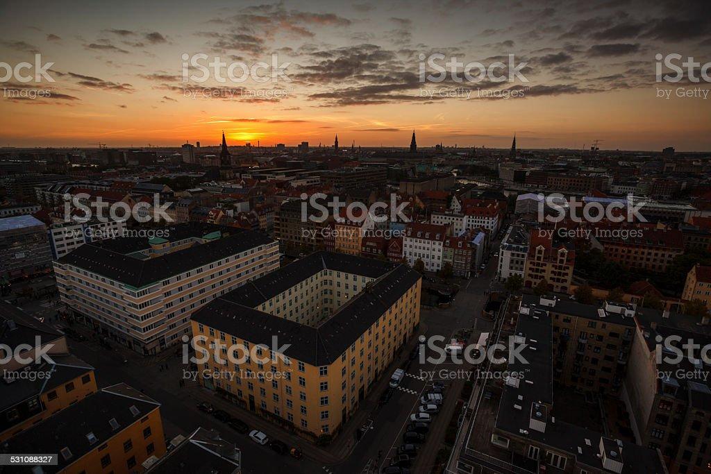 Copenhagen sunset stock photo