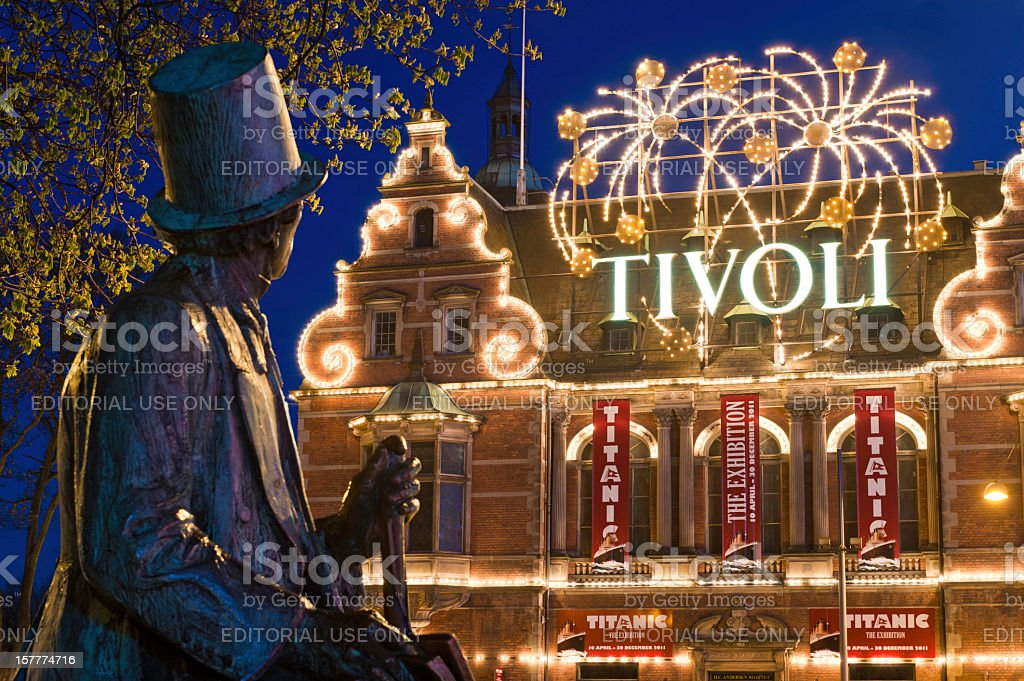 Copenhagen Tivoli Gardens amusement park Hans Christian Andersen Rådhuspladsen Denmark royalty-free stock photo