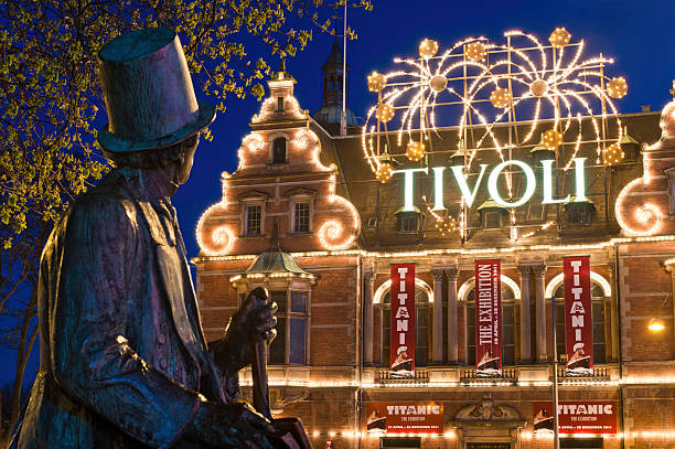 Copenhagen Tivoli Gardens amusement park Hans Christian Andersen Rådhuspladsen Denmark stock photo
