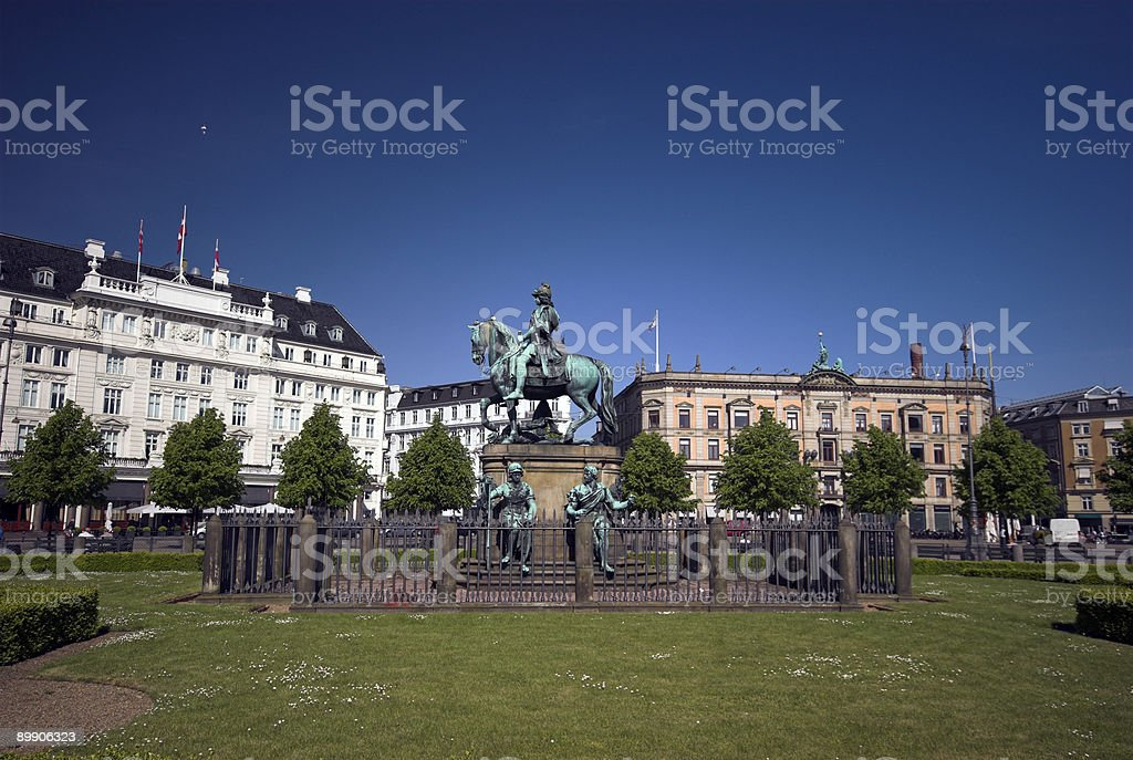 Copenhagen Town Square with Equestrian Statue. royalty-free stock photo