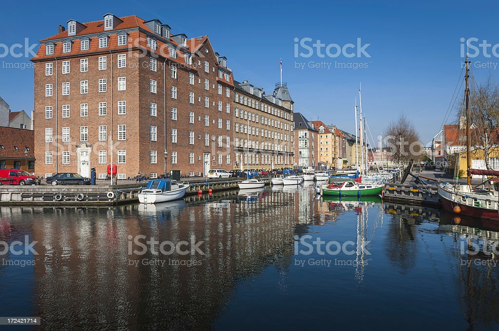 Copenhagen tranquil harbour waterfront Christianshavn Denmark royalty-free stock photo