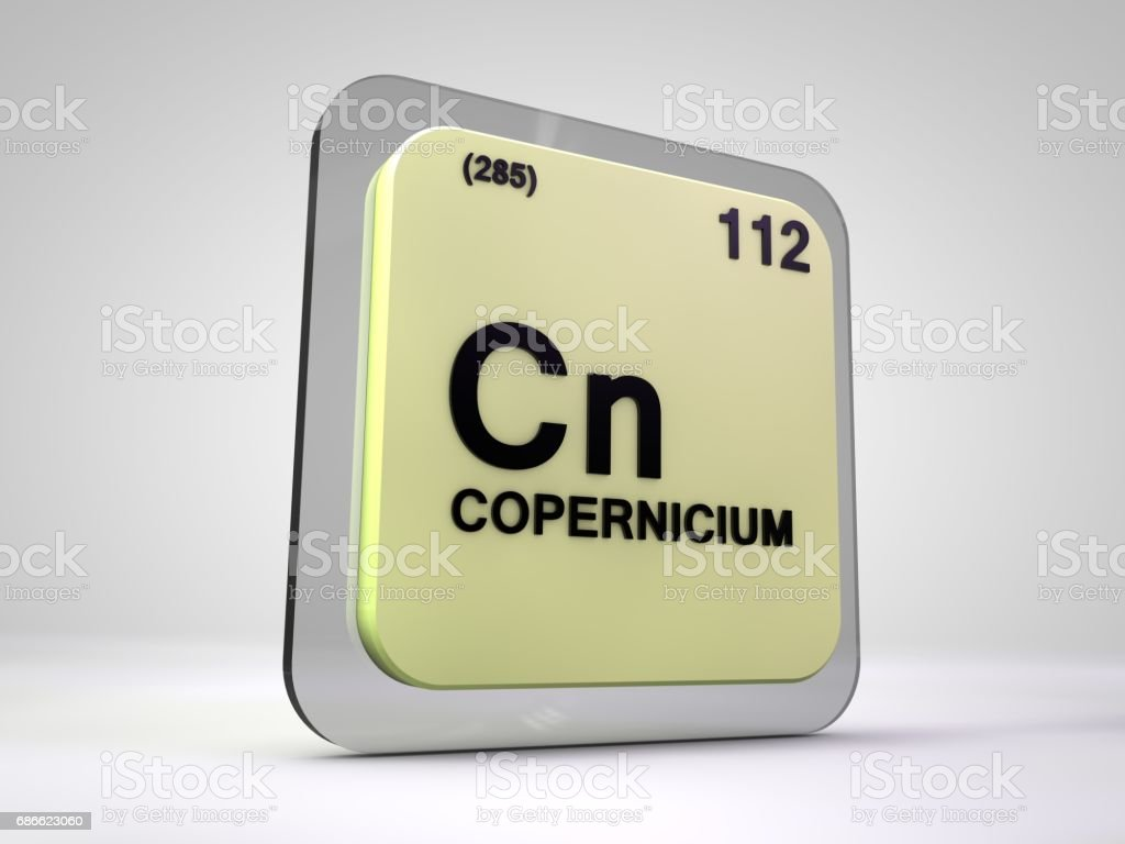 copernicium - Cn - chemical element periodic table 3d illustration royalty-free stock photo