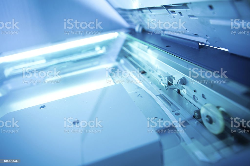 copier with a bright light inside stock photo