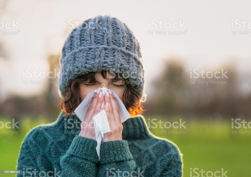 Coping with a winter cold stock photo