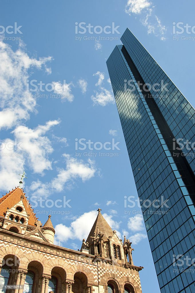 Copley Square, Boston with Trinity Church in Boston royalty-free stock photo