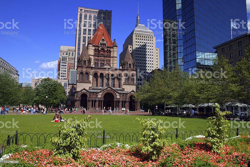Copley Square in Boston filled with people on a sunny day stock photo