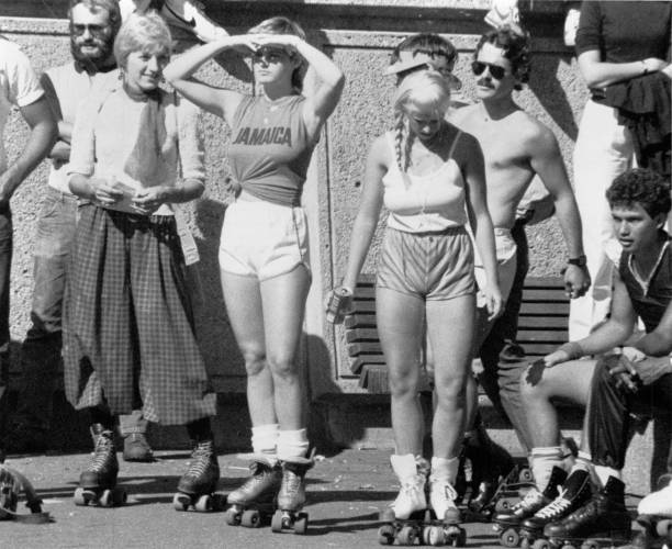 Copley Square Plaza, Boston, MA./US - 060186: Mid 1980s Rollerskaters stock photo