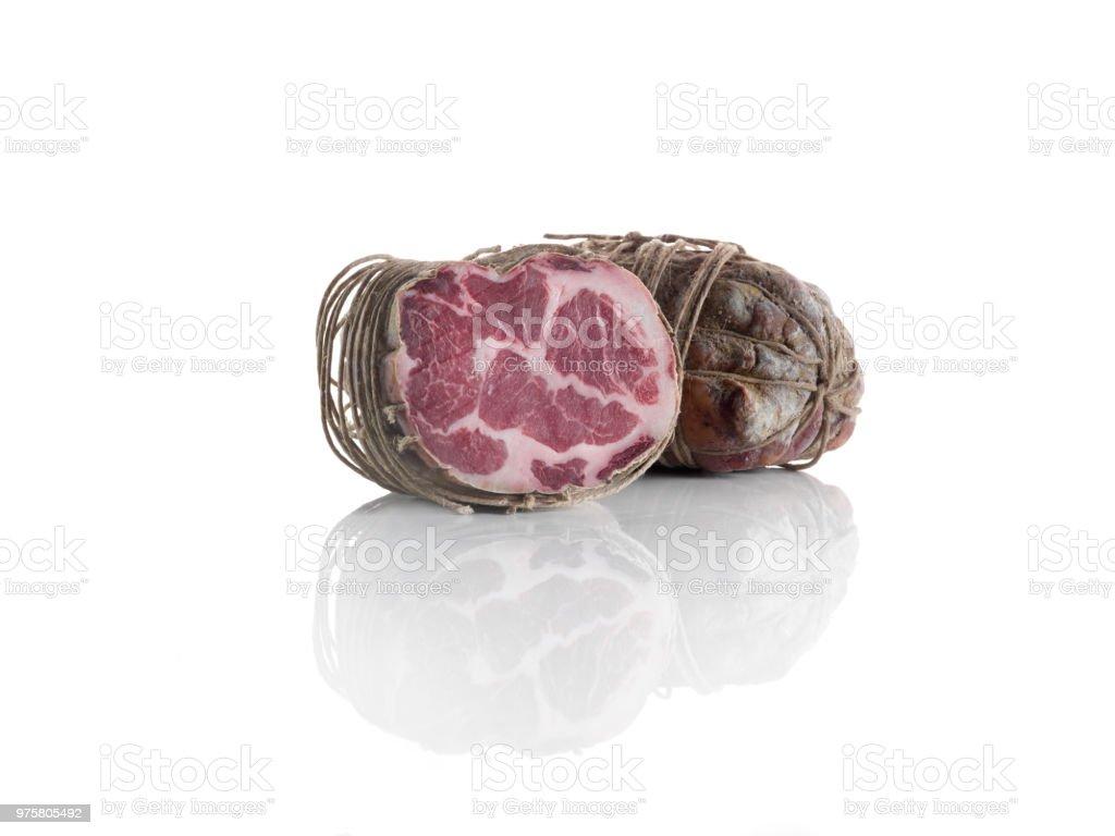 Coppa, Luft Wurstwaren Fleisch auf weißem Hintergrund - Lizenzfrei Aufschnitt - Wurst Stock-Foto