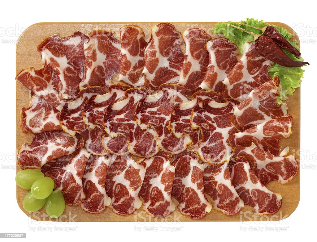 Coppa sliced stock photo