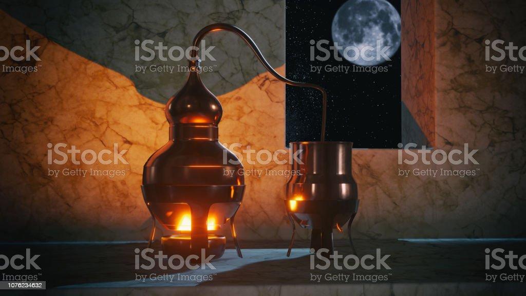 Kupfer Alembic Distiller 3D-Illustration – Foto