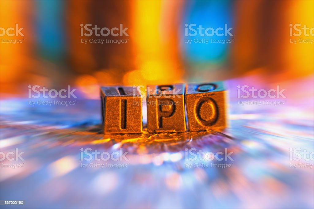 IPO copper alphabet in radial blur illuminated with light stock photo