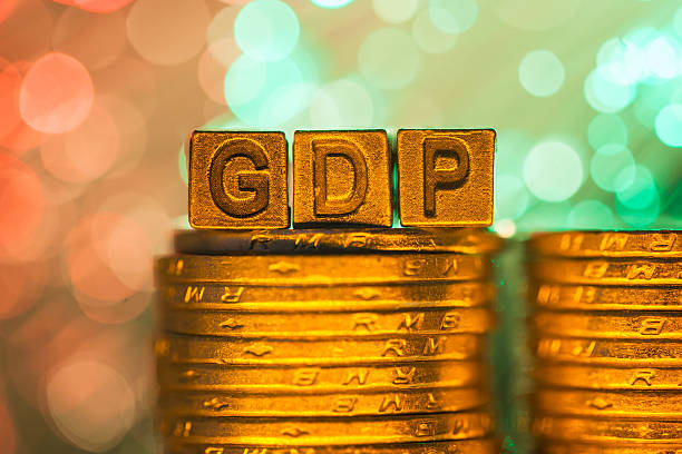 GDP copper alphabet stock photo
