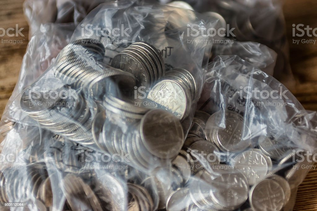 Copper and silver UK coins stock photo
