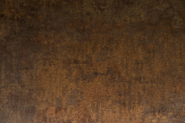 Copper antique texture, old metal background stock photo