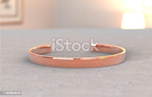 Copper bracelet close-up in interior, mock-up for custom product.