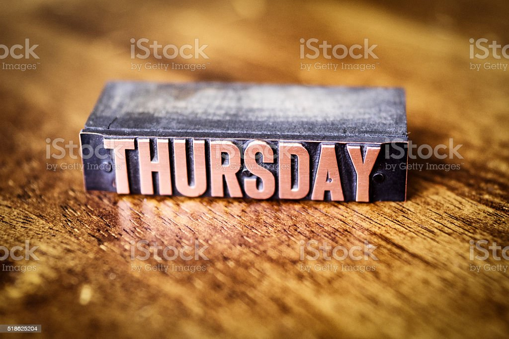 Copper Bronze Letter Press Day of the Week-Thursday stock photo
