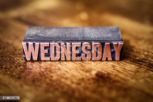 istock Copper Bronze Letter Press Day of the Week-Wednesday 518625276