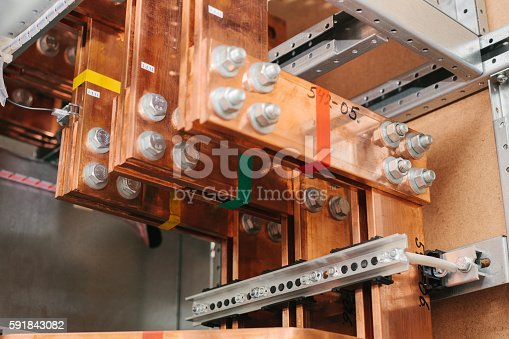 istock Copper busbar. Uninterrupted power. Electrical power. 591843082
