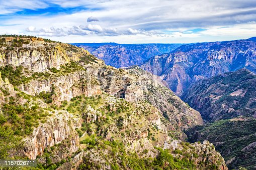 Stock photograph of the Copper Canyon, Chihuahua, Mexico on a cloudy day.