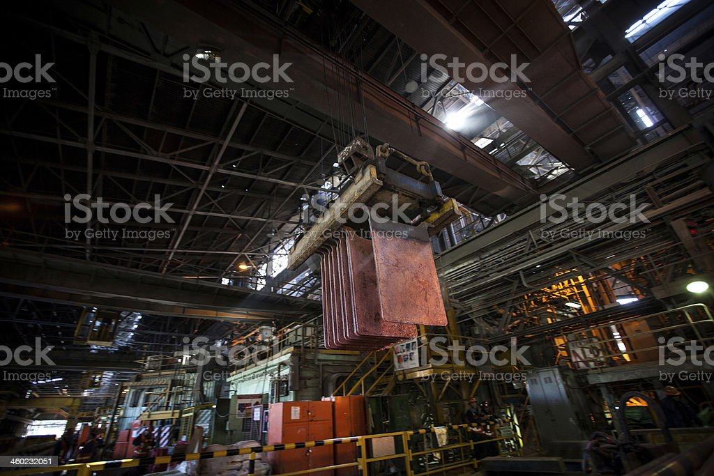 Copper Cathode Plate in Electrolysis stock photo