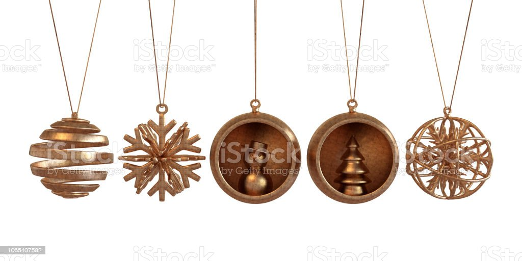 Copper Christmas Ornaments.Copper Christmas Ornaments Stock Photo Download Image Now