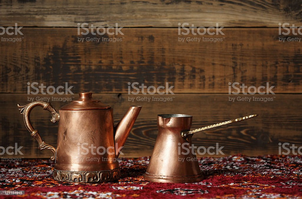 copper coffe pots royalty-free stock photo