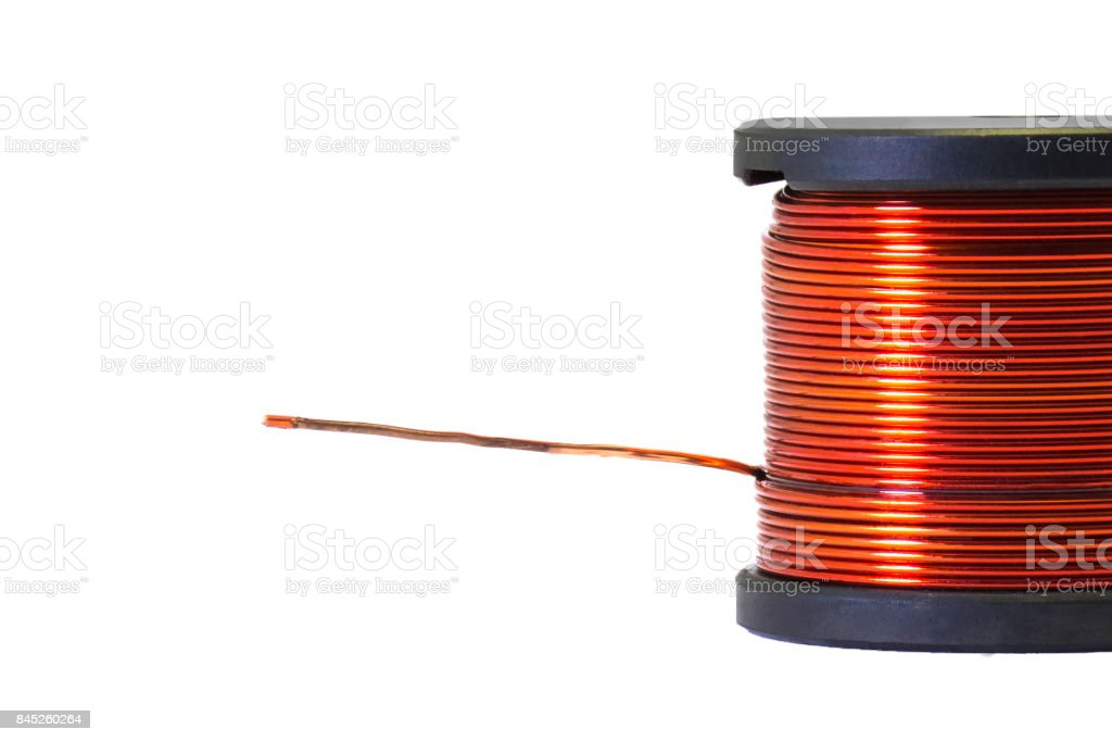 Copper coil, Ferrite core inductor magnetics. stock photo