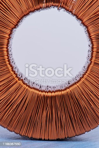 Copper coil magnetic field close-up