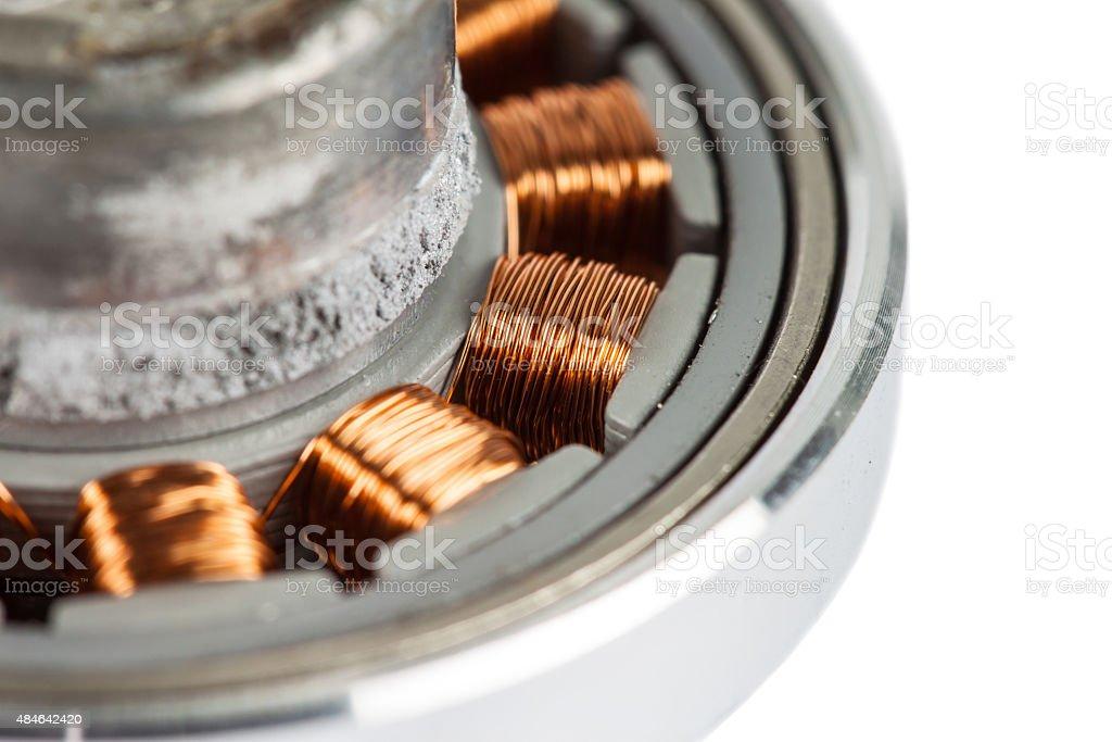copper coil of the transformer stock photo
