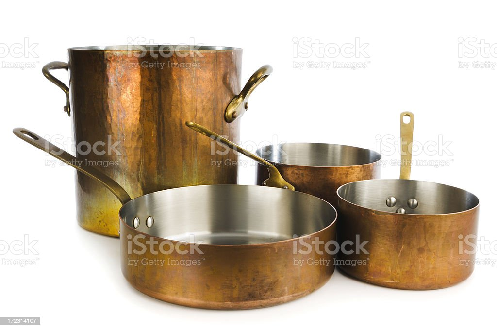 Copper Cooking Pan, Saucepan, Kitchen Utensils on White Background stock photo