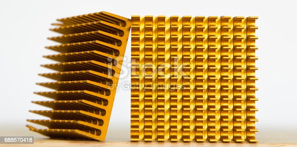 istock Copper Cooler Heat Sink Closeup,  Background Textured Pattern Abstract, Yellow, Gold, Golden 688570418