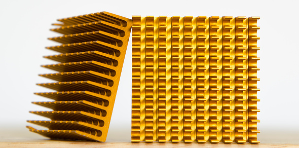 istock Copper Cooler Heat Sink Closeup,  Background Textured Pattern Abstract, Yellow, Gold, Golden 688570418