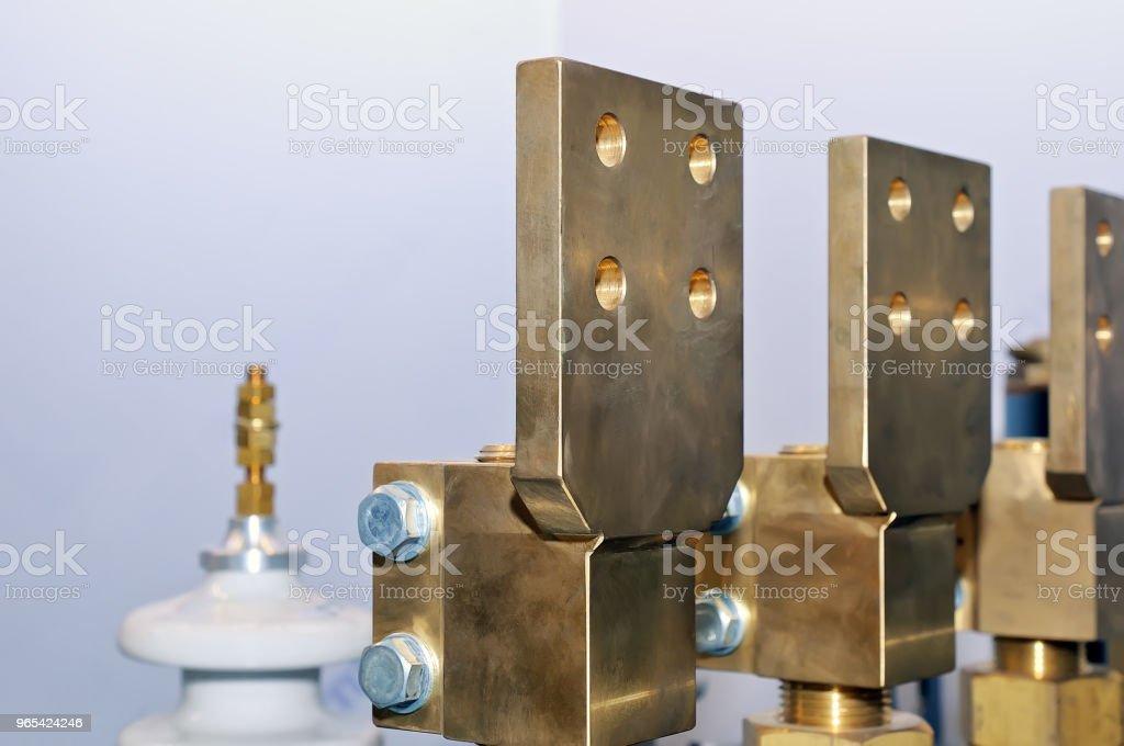 Copper electric busbar close-up. zbiór zdjęć royalty-free