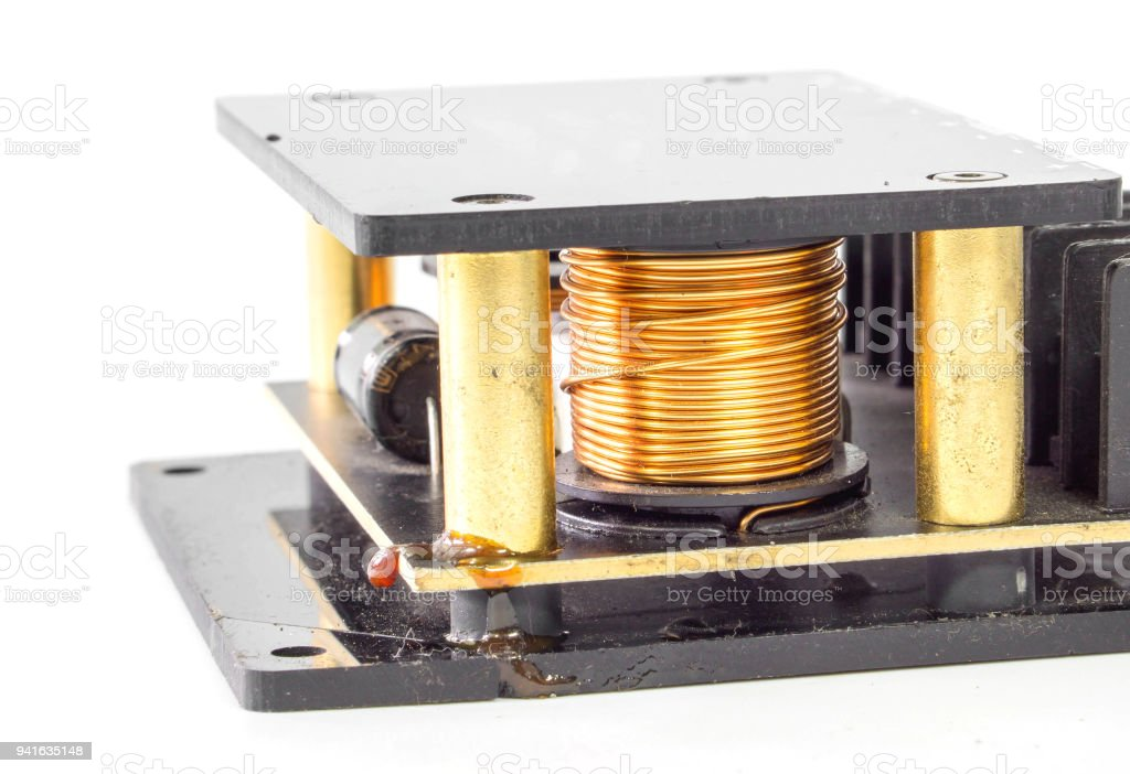 Copper electric coil wiring stock photo