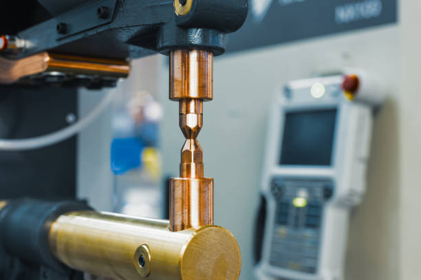 Copper electrodes, working part of the machine stock photo