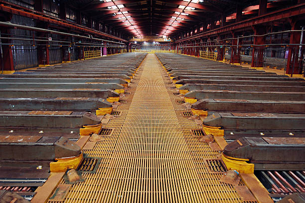 Copper Extraction 2 Thousands of sheets of copper are grown in an enormous acid bath at a mining processing facility in Chile. The symmetry of the sky lights and yellow grated floor stretches to a convergence point after dozens of baths. anode stock pictures, royalty-free photos & images