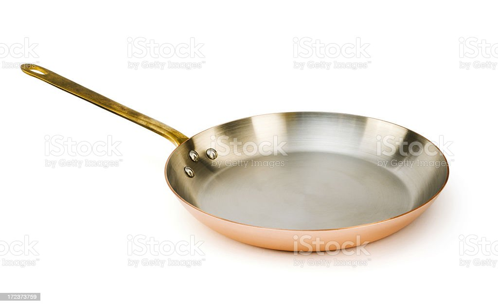 Copper Frying Pan, a Kitchen Cooking Utensil for Skillet Meals stock photo