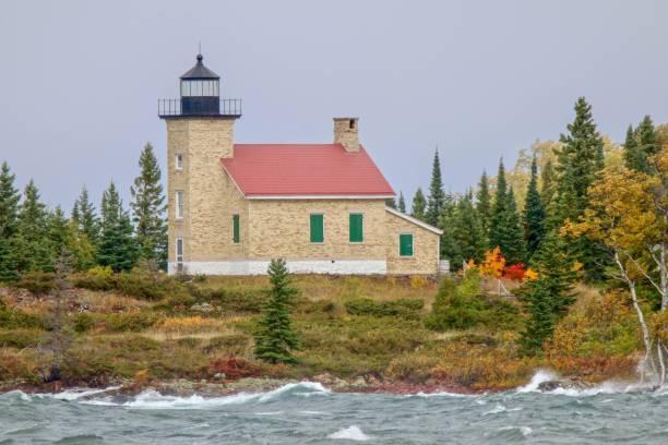 Copper Harbor Lighthouse in Upper Peninsula of Michigan stock photo