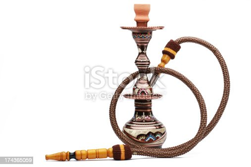 Copper hookah isolated on white