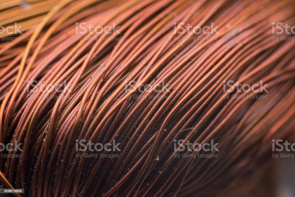 copper inductor in a transformer. stock photo
