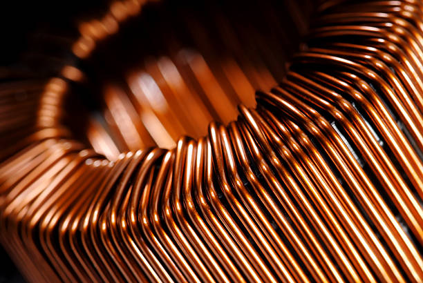 copper inductor - hoogspanningstransformator stockfoto's en -beelden