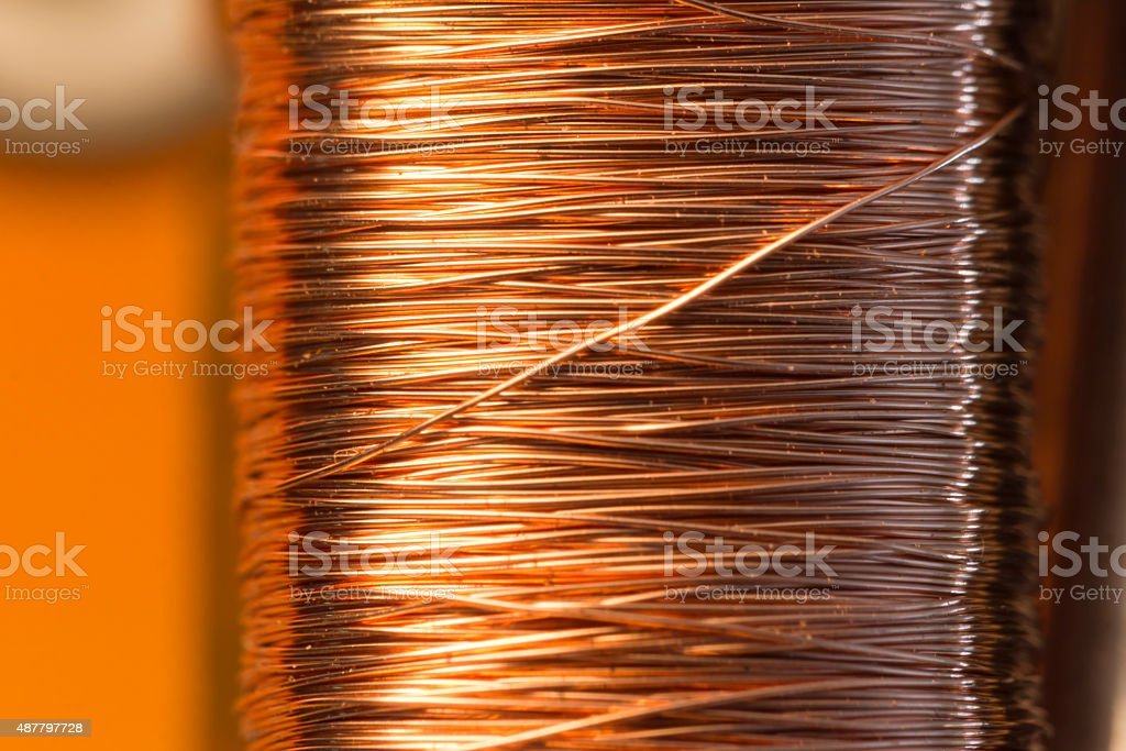 Copper inside Electric Motor stock photo
