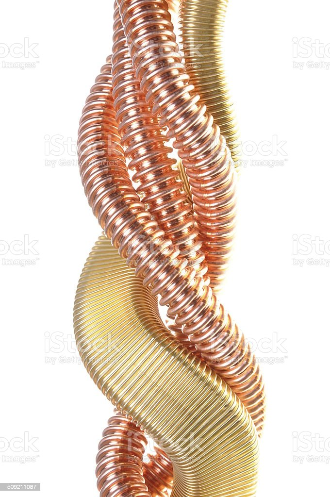 Copper insulated transmission lines stock photo
