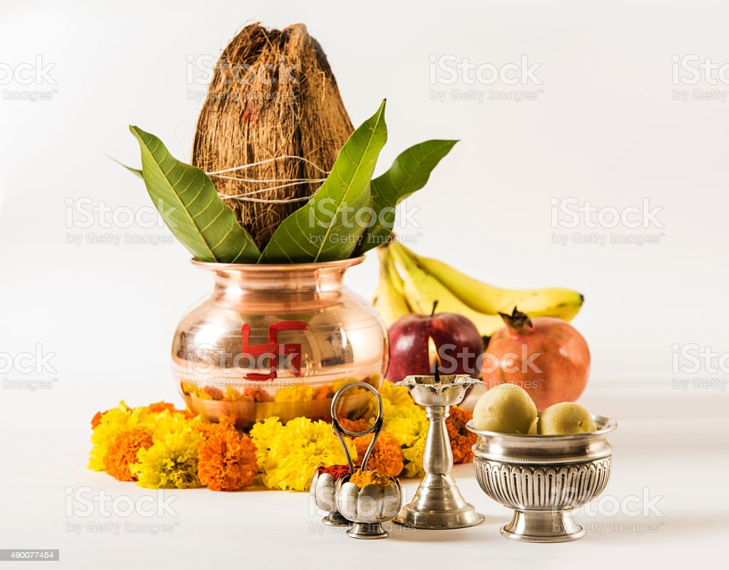 copper kalash and hindu puja or hindu pooja items stock photo