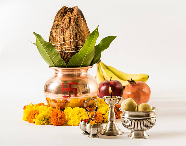 copper kalash and hindu puja or hindu pooja items - hinduism stock photos and pictures